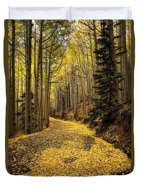 A Stroll Among The Golden Aspens  Duvet Cover