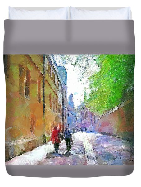 Duvet Cover featuring the painting A Stroll In The Alley by Wayne Pascall