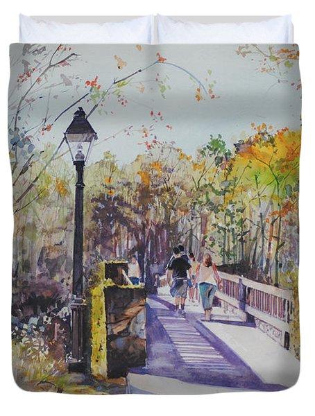 A Stroll On The Bridge Duvet Cover