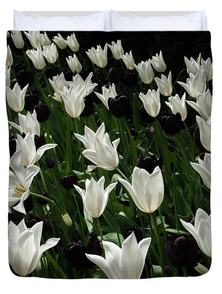A Study In Black And White Tulips Duvet Cover