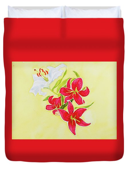 A Study Of Lilies Duvet Cover