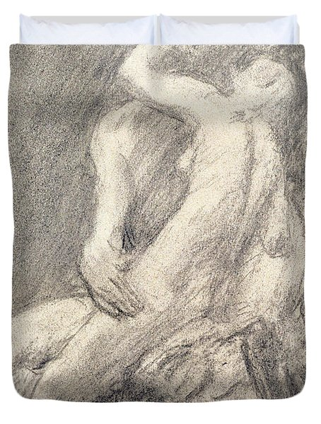 A Study Of Rodin's Kiss In His Studio Duvet Cover