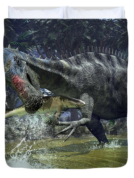 A Suchomimus Snags A Shark From A Lush Duvet Cover by Walter Myers