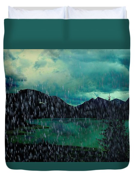 A Sudden Downpour Duvet Cover by Shirley Sirois
