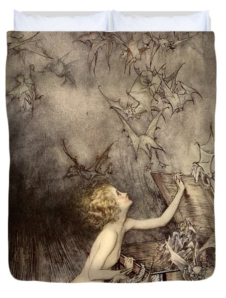 A Sudden Swarm Of Winged Creatures Brushed Past Her Duvet Cover by Arthur Rackham