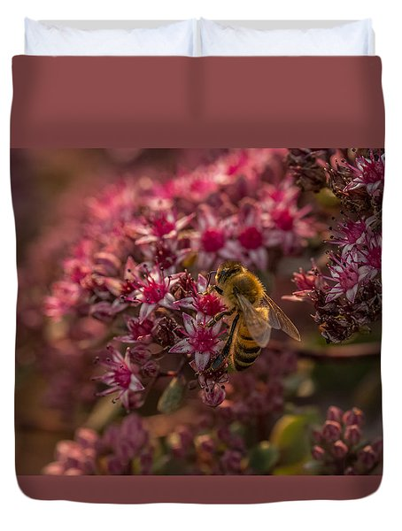 Duvet Cover featuring the photograph A Summer Bee by Yeates Photography