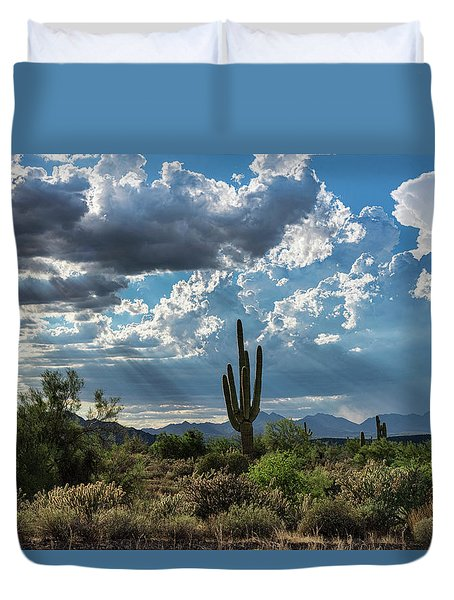 Duvet Cover featuring the photograph A Summer Day In The Sonoran  by Saija Lehtonen