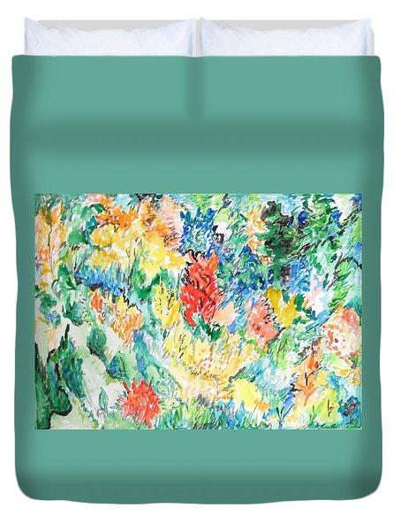 A Summer Garden Frolic Duvet Cover