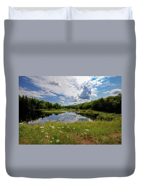 Duvet Cover featuring the photograph A Summer Morning At The Bridge by David Patterson