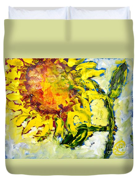 A Sunflower Greeting Duvet Cover