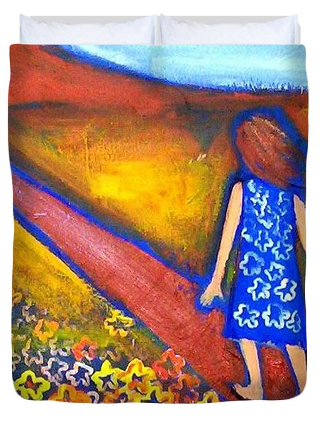 Duvet Cover featuring the painting A Sunny Path by Winsome Gunning