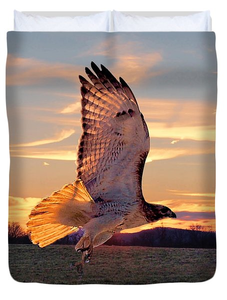 A Sunset Flight Duvet Cover by B Wayne Mullins
