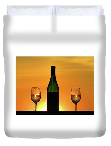 A Sunset In Each Glass Duvet Cover