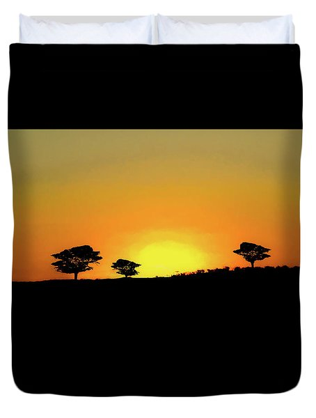 A Sunset In Namibia Duvet Cover by Ernie Echols