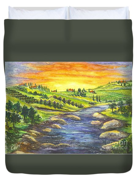 Duvet Cover featuring the painting A Sunset In Wine Country by Carol Wisniewski