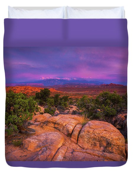 A Sunset Over Arches Duvet Cover