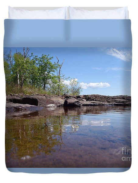Duvet Cover featuring the photograph A Superior June Day by Sandra Updyke