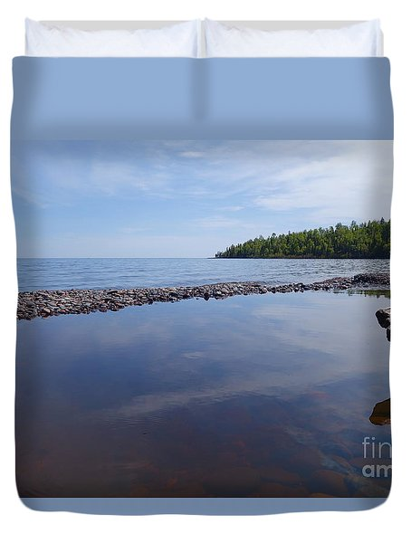 Duvet Cover featuring the photograph A Superior Shore by Sandra Updyke