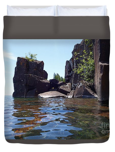 Duvet Cover featuring the photograph A Superior Stack by Sandra Updyke