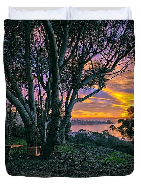 A Swinging Sunset From The Secret Swings Of La Jolla Duvet Cover