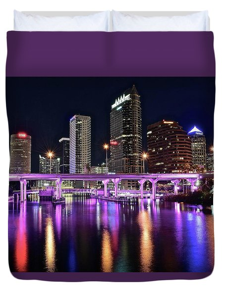 A Tampa Night Duvet Cover by Frozen in Time Fine Art Photography