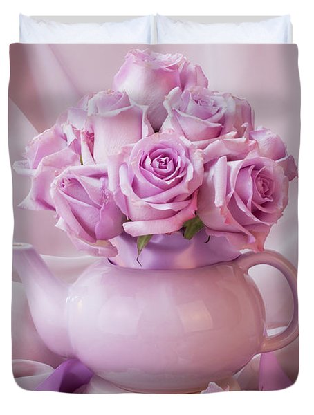 A Tea Pot Of Lavender Pink Roses  Duvet Cover by Sandra Foster