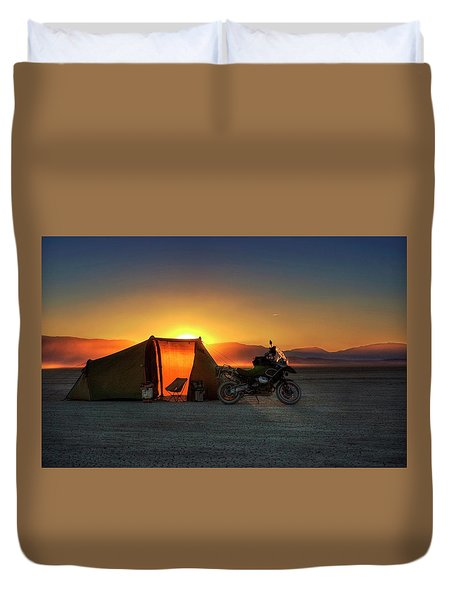 Duvet Cover featuring the photograph A Tent, A Motorcycle, And A Sunset On The Playa by Peter Thoeny