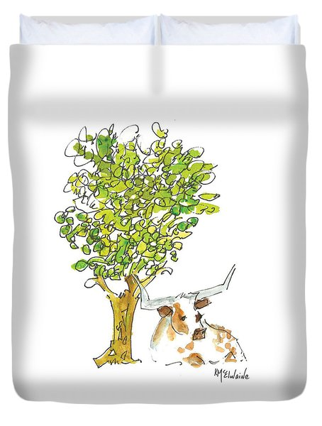 A Texas Welcome Texas Longhorn Under A Live Oak Tree Watercolor Painting By Kmcelwaine Duvet Cover