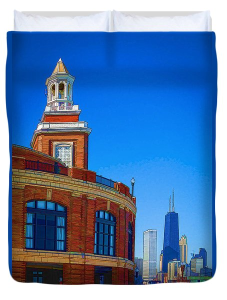 Duvet Cover featuring the photograph A Textured Navy Pier by Kathleen Scanlan