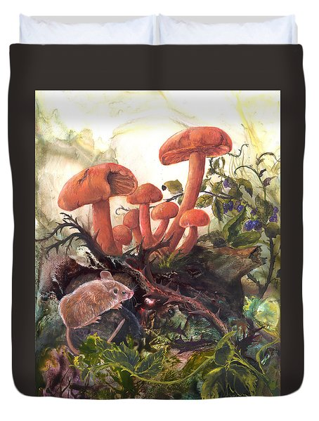 Duvet Cover featuring the painting A Thorny Situation by Sherry Shipley