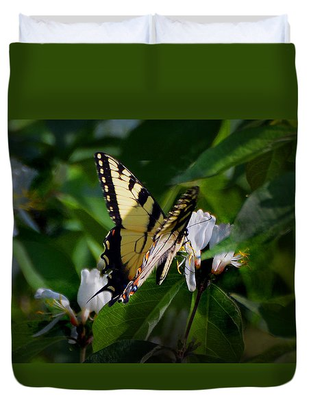 Duvet Cover featuring the photograph A Tiger Swallowtail by Kathleen Stephens