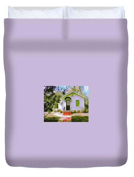 A Tiny House In Beaufort Duvet Cover by Patricia Greer