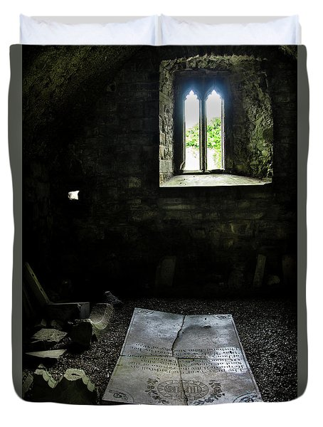Duvet Cover featuring the photograph A Tombstone In Sligo Abbey by RicardMN Photography