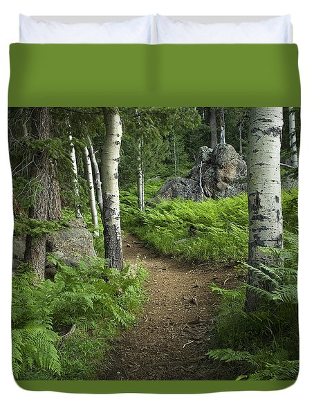 A Tranquil Path  Duvet Cover by Sue Cullumber