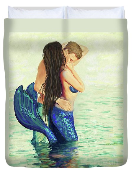 Duvet Cover featuring the painting A Treasured Love by Leslie Allen