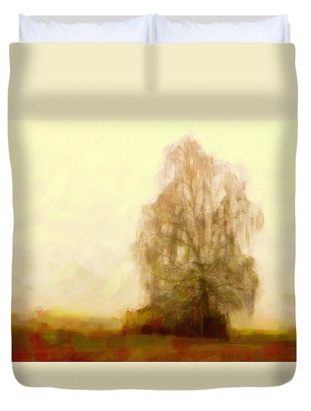 Duvet Cover featuring the painting A Tree by Chris Armytage
