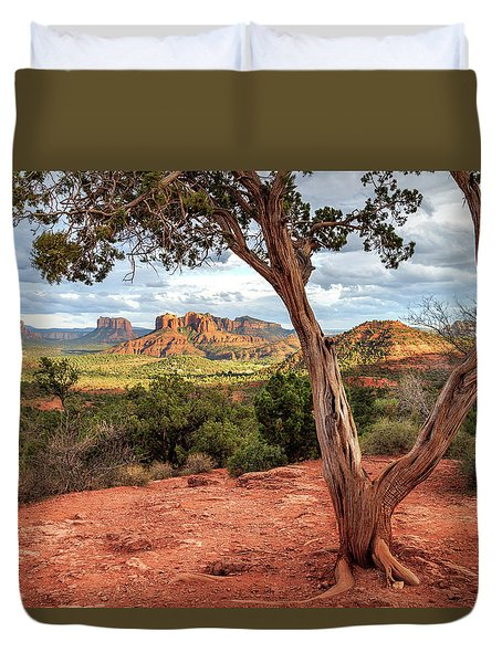 A Tree In Sedona Duvet Cover by James Eddy