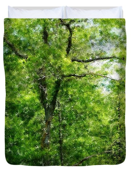 A Tree In The Woods At The Hacienda  Duvet Cover by David Lane