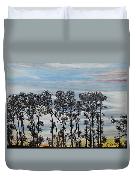 Duvet Cover featuring the painting A Treeline Silhouette by Marilyn  McNish