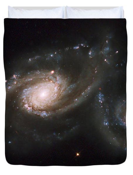 A Triplet Of Galaxies Known As Arp 274 Duvet Cover by Stocktrek Images