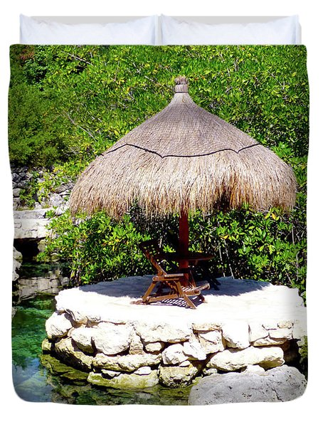 Duvet Cover featuring the photograph A Tropical Place To Relax by Francesca Mackenney