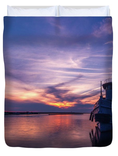 A Tugboat Sunset Duvet Cover
