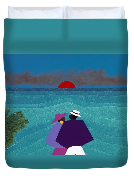 A Turks And Caicos Sunset Duvet Cover