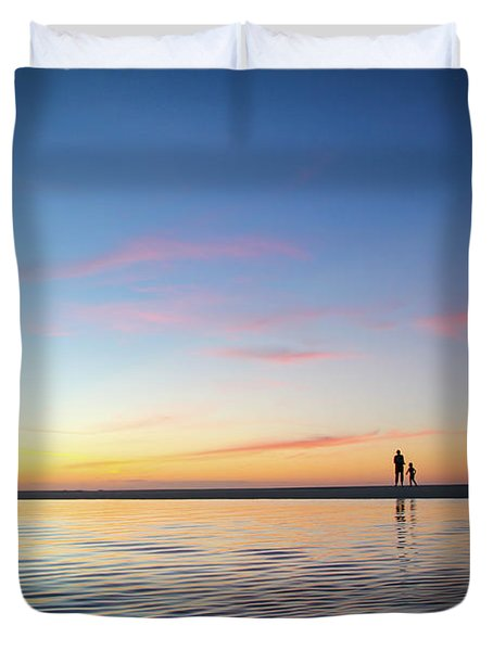 A Twilight Beach Walk Duvet Cover