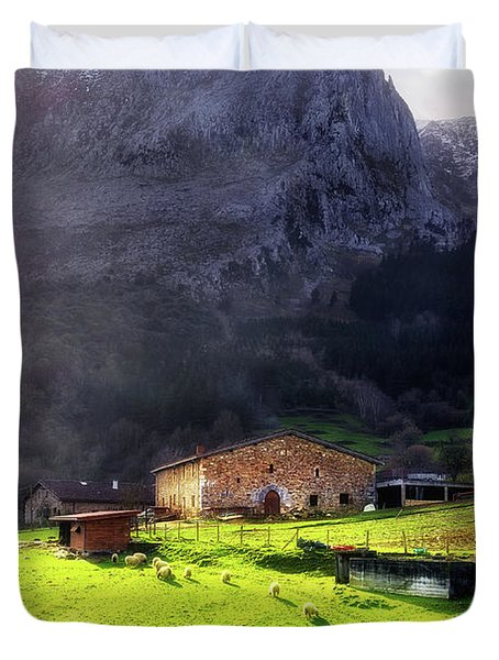 A Typical Basque Country Farmhouse With Sheep Duvet Cover