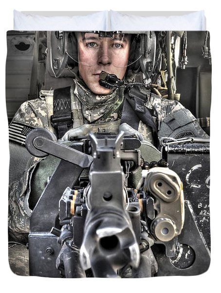 A Uh-60 Black Hawk Door Gunner Manning Duvet Cover by Terry Moore