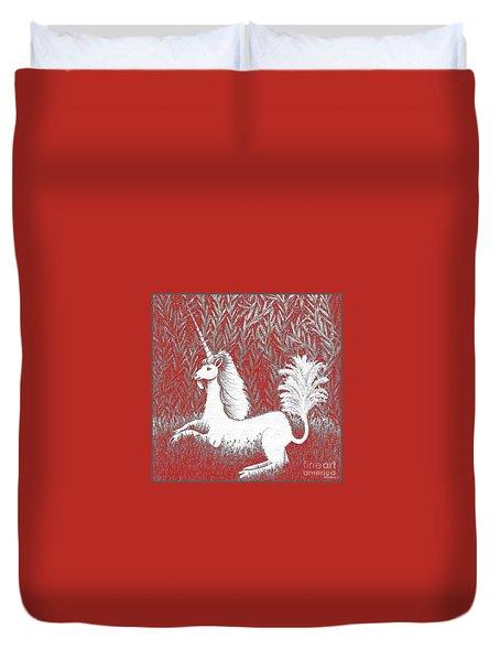 A Unicorn In Moonlight Tapestry Duvet Cover