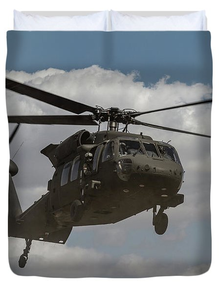 A U.s. Army Uh-60 Black Hawk Helicopter Duvet Cover