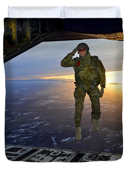Duvet Cover featuring the photograph A U.s. Soldier Salutes His Fellow by Stocktrek Images