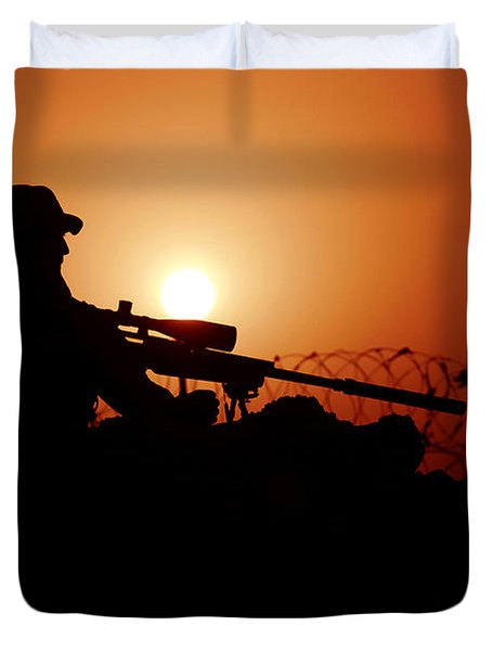 A U.s. Special Forces Soldier Armed Duvet Cover by Stocktrek Images